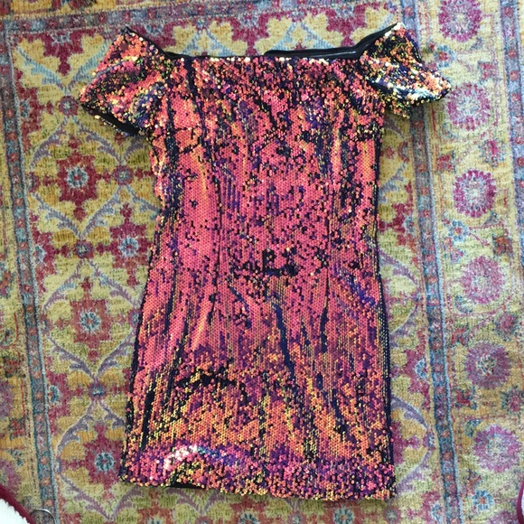 Forever 21 Dresses & Skirts - Sparkly Pink & Yellow Sequin Bodycon Dress